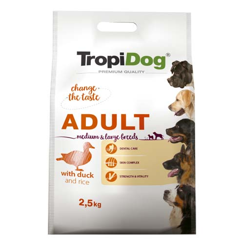 TropiDog Premium Adult Medium & Large 2,5kg kacsa rizzsel