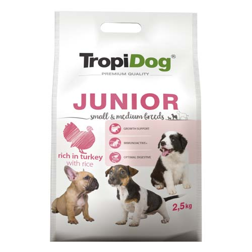 TropiDog Premium Junior Small & Medium 2,5kg pulyka rizzsel