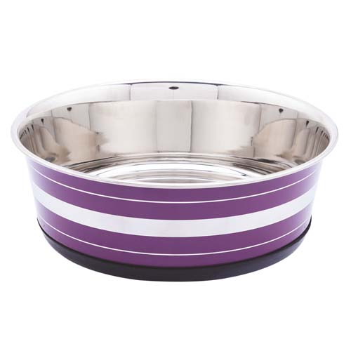 LES FILOUS Heavy Striped Bowls w/ Removable Rubber Ring, 0,40L, 11,5cm