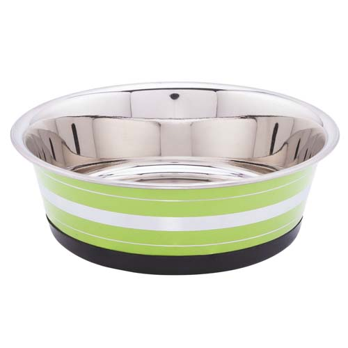 LES FILOUS Heavy Striped Bowls w/ Removable Rubber Ring, 1,20L, 17,5cm