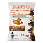 TropiDog Premium Adult Medium & Large 500g kacsa rizzsel