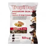 TropiDog Premium Adult Medium & Large 500g pulyka rizzsel