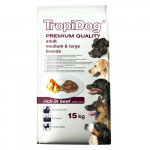 TropiDog Premium Adult Medium & Large 15kg marha rizzsel