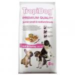 TropiDog Premium Junior Small & Medium 8kg pulyka rizzsel